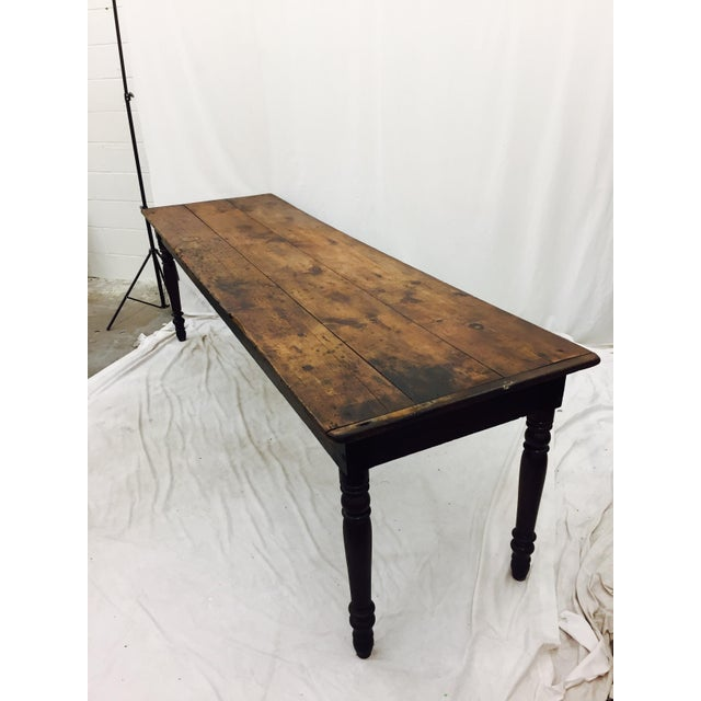 Wood Antique Harvest Farm Table For Sale - Image 7 of 11