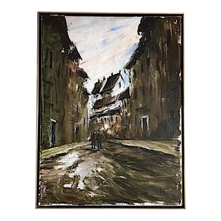 1960s Vintage Signed Cityscape Painting For Sale