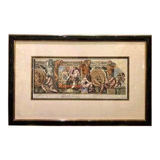 Antique 18c Hand Colored Engraving Roman Architecture Nudes by Petrus Aquila For Sale
