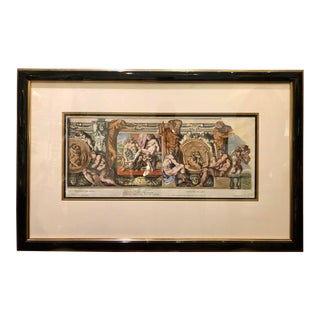 Antique Hand Colored Engraving Roman Architecture Nudes by Petrus Aquila For Sale