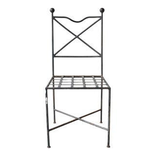 Vintage French Wrought Iron Patio Chair For Sale