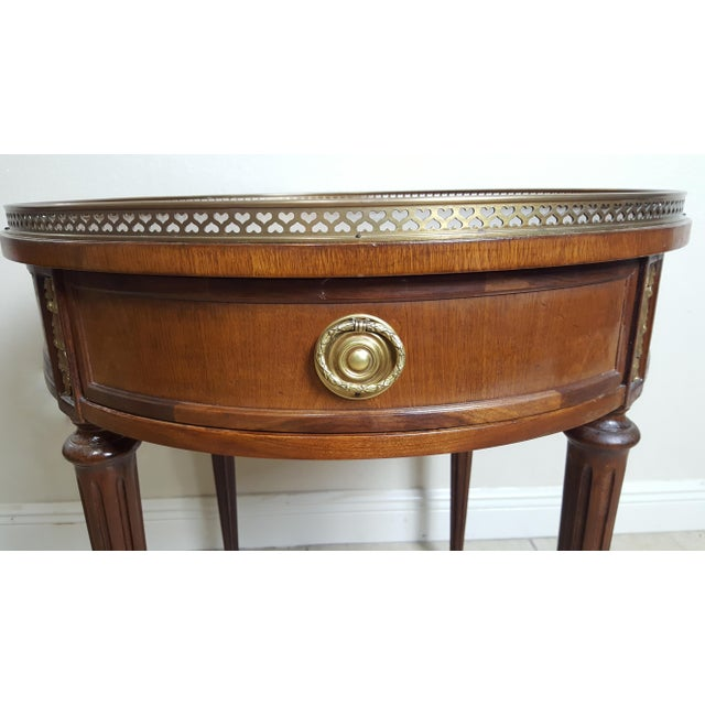 Henredon Empire Style Round Wood With Brass Border Tray End Table For Sale - Image 12 of 13