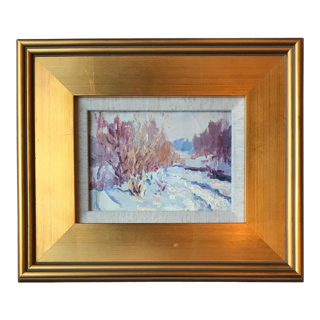Vintage Impressionist Style Oil Painting of Winter Landscape For Sale