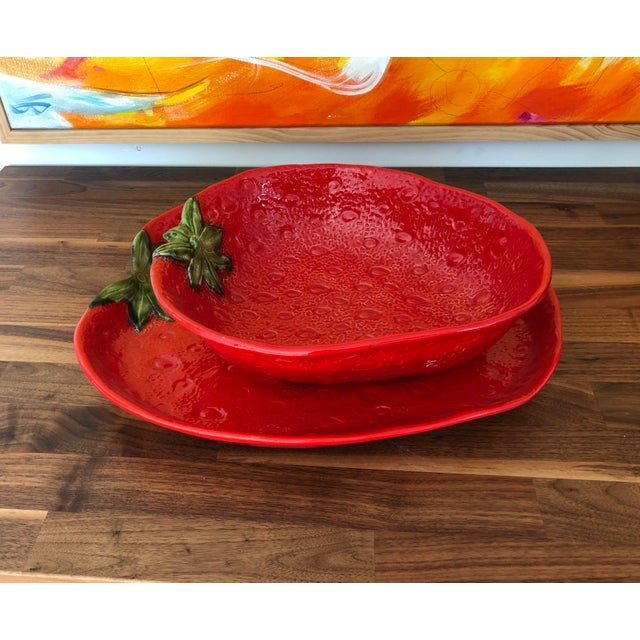 Large Italian Majolica Strawberry Bowl For Sale - Image 10 of 11