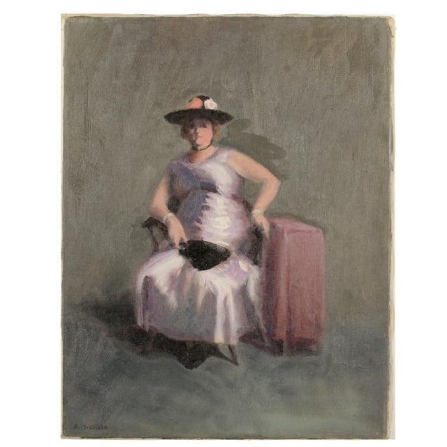 """Canvas Mid 20th Century """"Violet Madame"""" Portrait Oil Painting by A. Nichols For Sale - Image 7 of 7"""