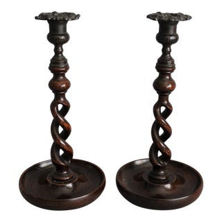19th-C English Twist Candlesticks, Pair For Sale