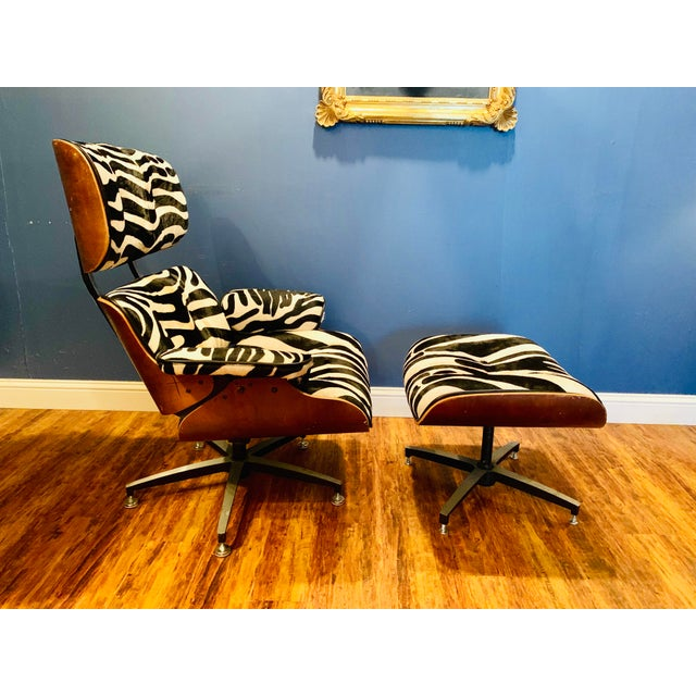 2010s Modern Custom Zebra Hide Eames Style Lounge Chair and Ottoman For Sale - Image 5 of 12