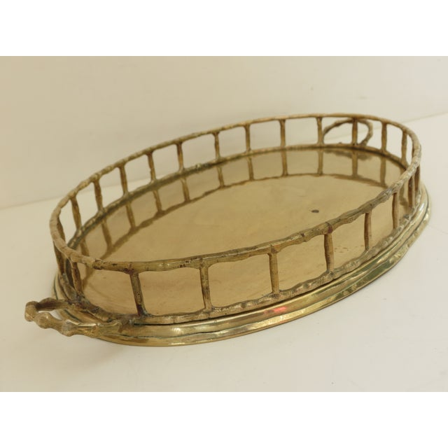 Hollywood Regency Brass Bamboo Tray For Sale - Image 3 of 7