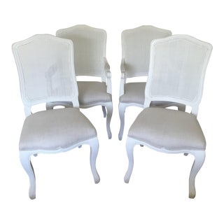 French Camelback Cane Back Fabric Chairs