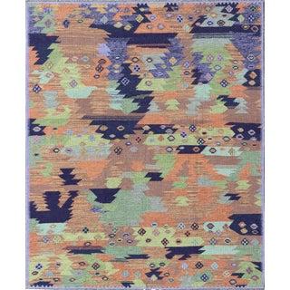 Keivan Woven Arts, Rjk-15370, Scandinavian Flat-Weave Style With Multicolored Geometric Design Rug- 8′6″ × 10′ For Sale