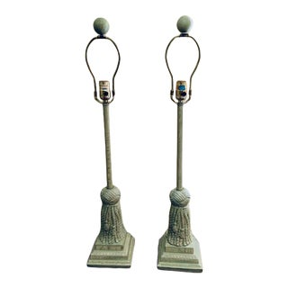 Light Green Painted Metal Tassle Lamps from the 1980s - a Pair For Sale