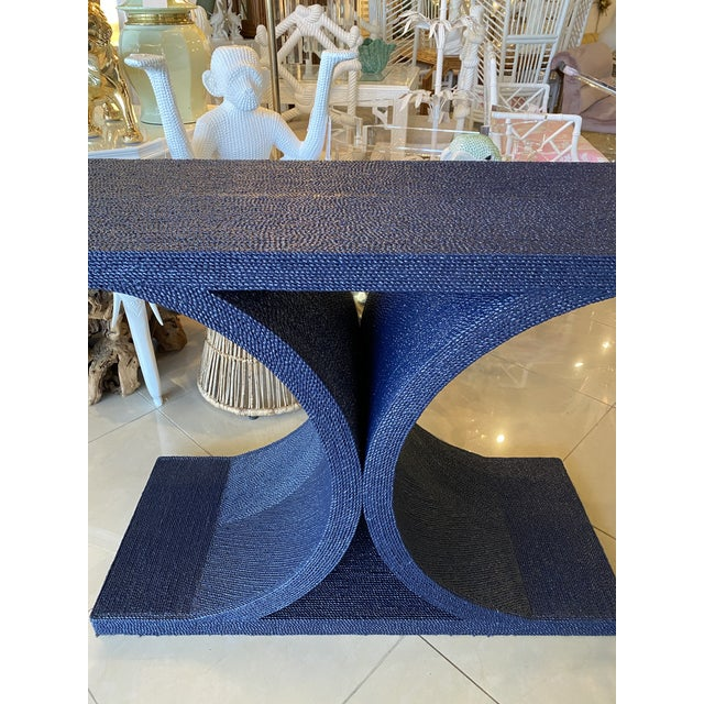 Vintage Karl Springer Style Navy Blue Lacquered Rope Console Table For Sale - Image 9 of 13