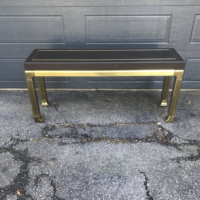Hollywood Regency Leather Top and Brass Base Console Table by Widdicomb For Sale - Image 11 of 11