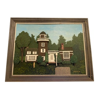 """1970s """"House on Hunting Lane"""" Mixed Media by Mortimer Marshall For Sale"""