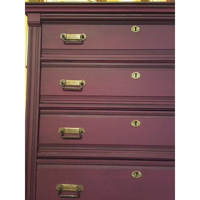 1900s Early American Antique Painted Highboy Chest of Drawers For Sale - Image 9 of 13