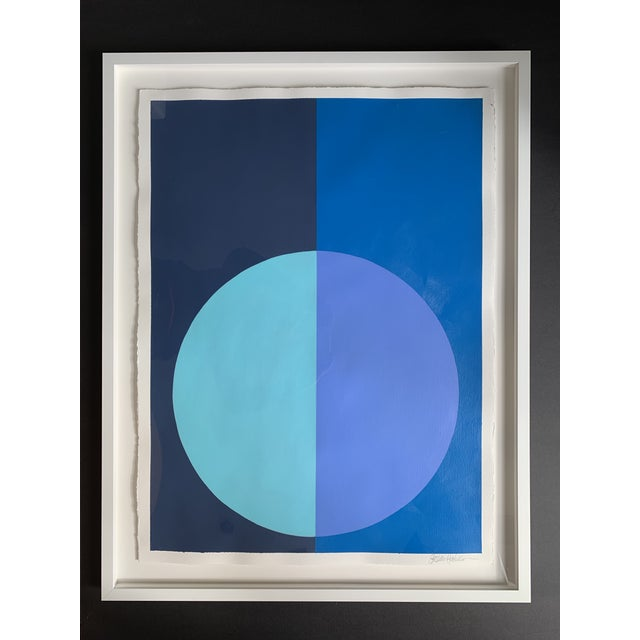2010s Stephanie Henderson Variation on a Circle in Blues Original Painting For Sale - Image 5 of 5