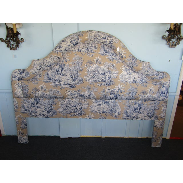 Blue Indian Safari Print Upholstered King Headboard - Image 2 of 5