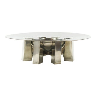 For Interieur France Space Age Modernist Pewter Centerpiece Bowl For Sale