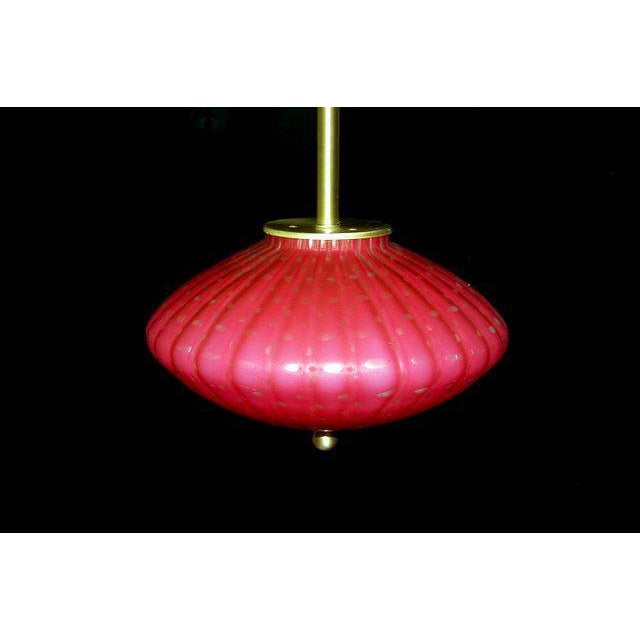 Contemporary Vintage Murano Glass Hanging Lamps Pink For Sale - Image 3 of 11