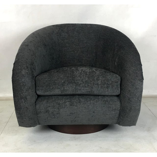 1970s Milo Baughman Roll Arm Swivel Lounge Chairs - a Pair For Sale - Image 5 of 10