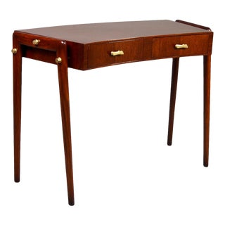 Italian Mid Century Mahogany and Beech Curved Front Writing Desk For Sale