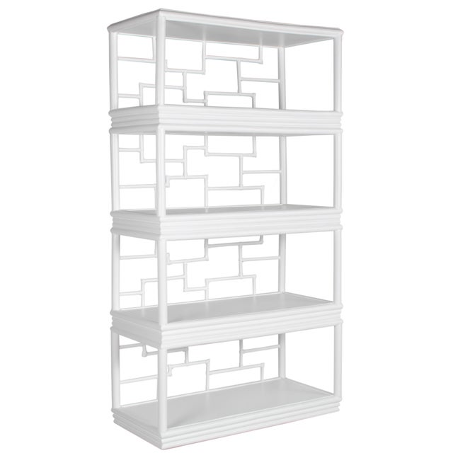 In a modern geometric style, this etagere features a wood frame with rattan detail, rawhide bindings and four wood...