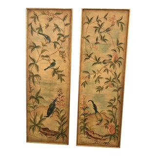 Hand Painted Asian Panels With Birds & Foliage - a Pair For Sale