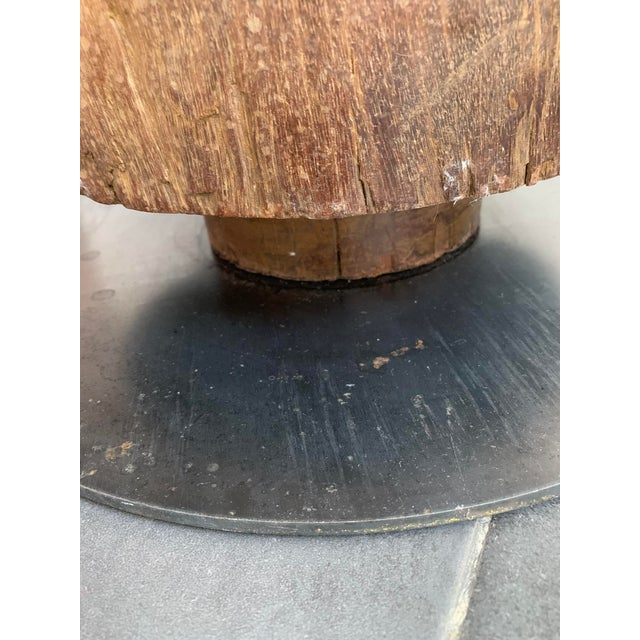Metal 20th Century Industrial Hardwood Cog Stool For Sale - Image 7 of 9