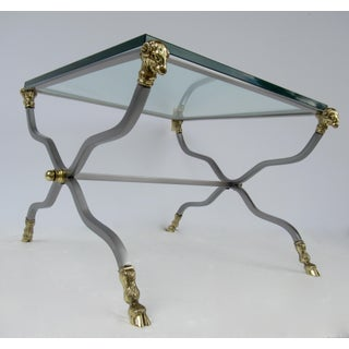 C.1960's-70's Hollywood Regency Italian Brass, Steel and Glass X-Frame, Side Table, Attr. To Maison Jansen Preview
