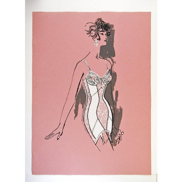 Lingerie fashion serigraph on paper. Likely for a store promotion, circa 1960's. Unsigned. Unframed.