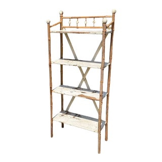 Rustic Traditional White Painted Stick and Ball Bamboo Shelf or Side Table For Sale