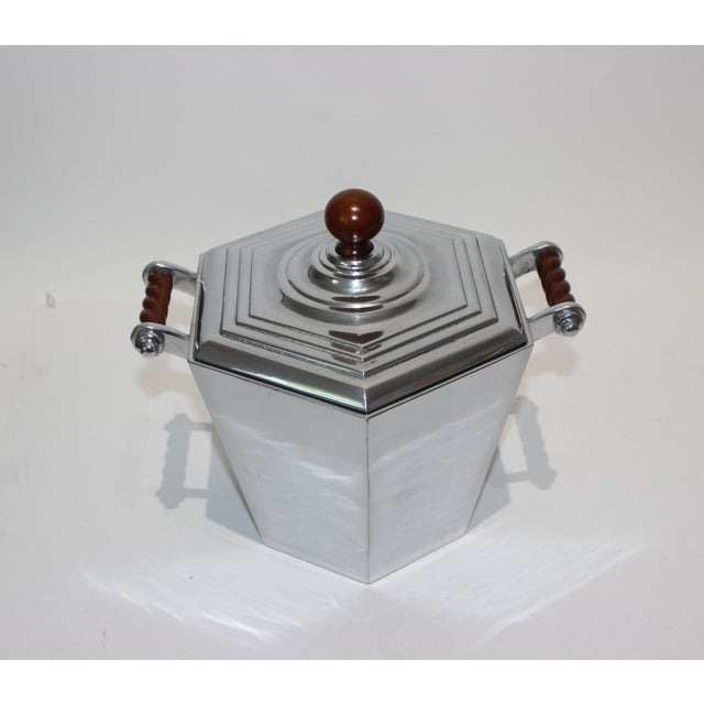 Reed & Barton Reed & Barton Art Deco Revival Polished Aluminum Ice Bucket For Sale - Image 4 of 13