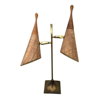 Vintage Laurel Twin Light Brass Lamp For Sale