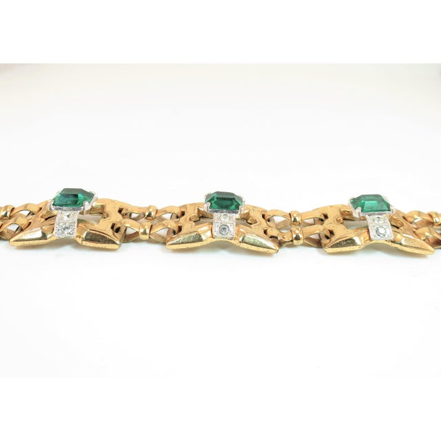 Art Deco Art Deco McClelland Barclay Geometric EmErald Bracelet 1930s For Sale - Image 3 of 11