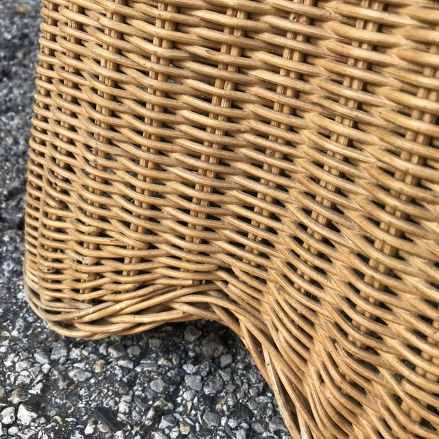 1960s Trompe L'Oeil Mid Century Rattan Ghost Wicker Table For Sale - Image 5 of 8