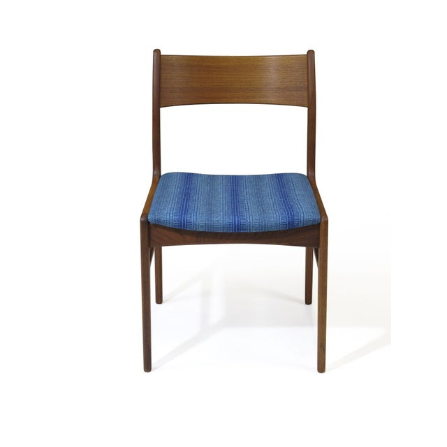 Mid 20th Century Funder-Schmidt and Madsen Teak Dining Chairs in Blue Wool - Set of 6 For Sale - Image 5 of 11