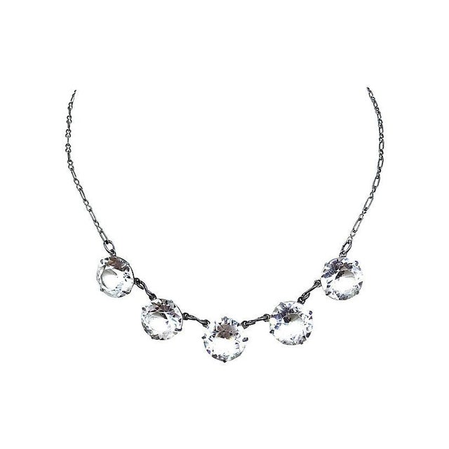 1920s Faceted Crystal Necklace For Sale - Image 4 of 4