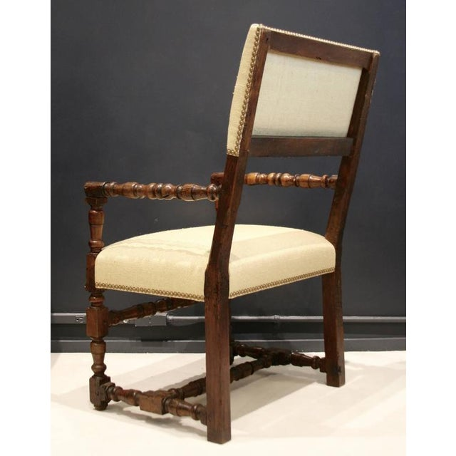 17th Century Flemish Walnut & Raw Silk Upholstered Elbow Chairs - A Pair - Image 9 of 9