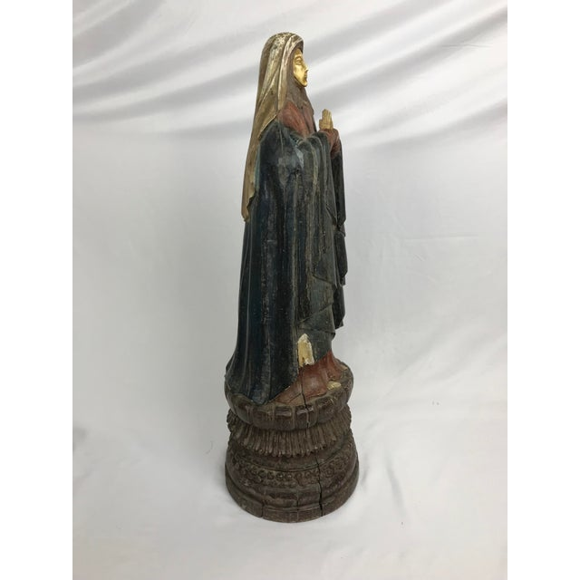 Vintage Carved Wood, Paint & Gesso Praying Woman Statue For Sale - Image 4 of 7