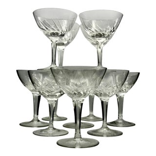 Antique Swirl Cut Crystal Champagne Coupes - Set of 12 For Sale