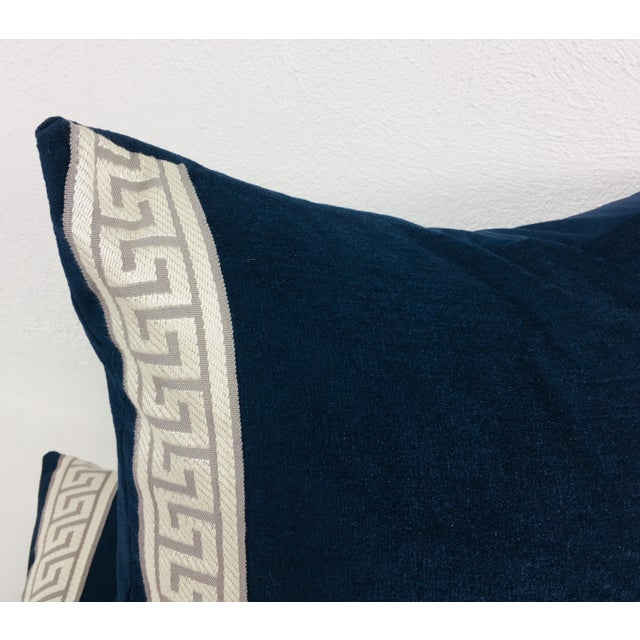 Indigo Blue Plush Chenille Lumbar Pillows- a Pair For Sale - Image 4 of 6