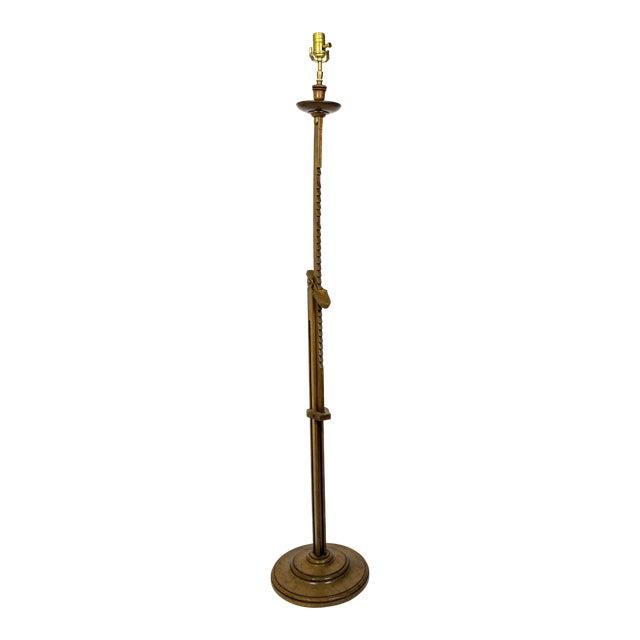 Adjustable Mahogany Ratchet Floor Lamp by Frances Elkins For Sale
