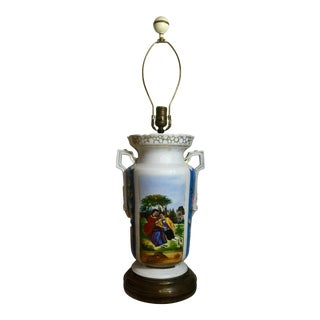 Antique Hand Painted German Urn Lamp For Sale