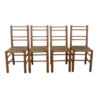Mid Century Modern Dining Rush Paper Rope Seat Wooden Danish Ladder Back Chairs- Set of 4 For Sale