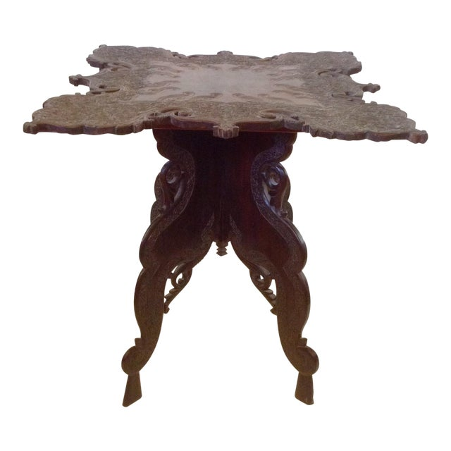 Anglo-Indian Square Shaped Carved Walnut Table For Sale