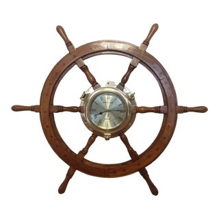 Mid 20th Century Nautical Ship's Time Brass & Wood Clock For Sale