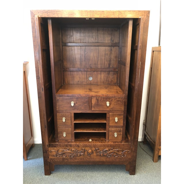 Asian Style Walnut Bar or Media Armoire For Sale - Image 12 of 13
