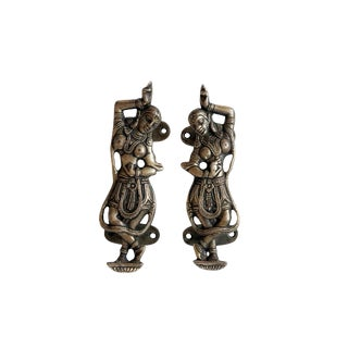 Indian Dancer Brass Door Handles - a Pair For Sale