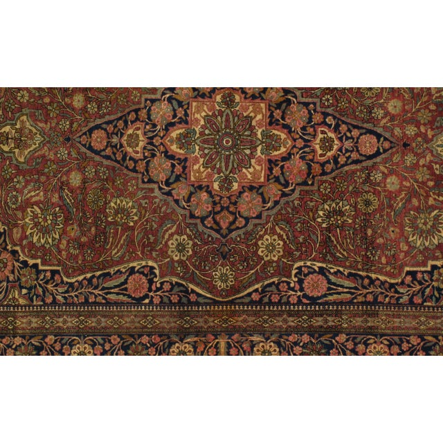 Late 19th Century Antique Persian Mohtasham Kashan Rug - 4′6″ × 6′6″ For Sale - Image 4 of 6