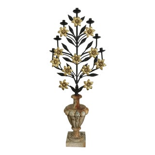 Antique Italian Floral Candelabra Displayed on a Concrete Urn For Sale